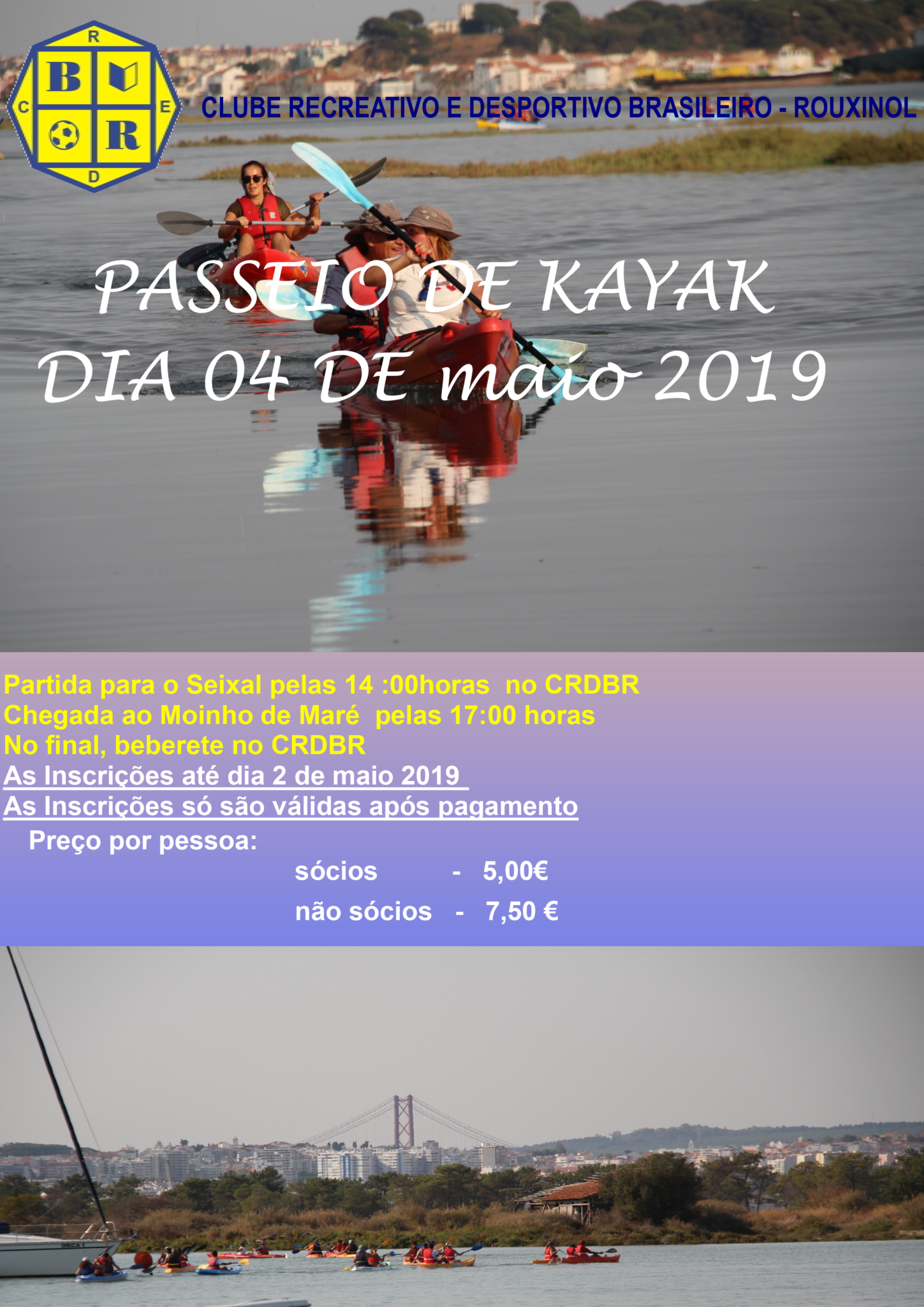 Passeio de kayak dia 4 de maio 2019! Participa!
