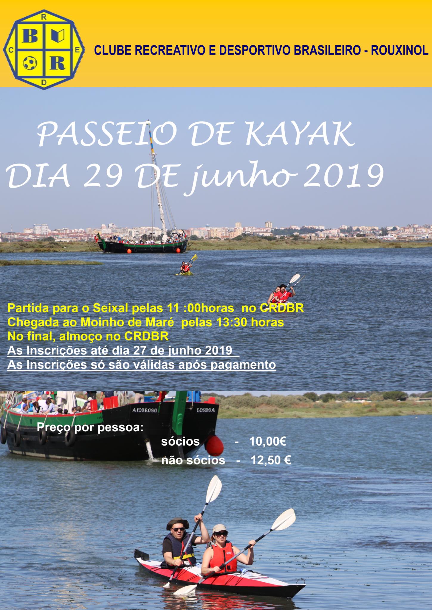 Passeio Kayak dia 29 de junho 2019…participa!